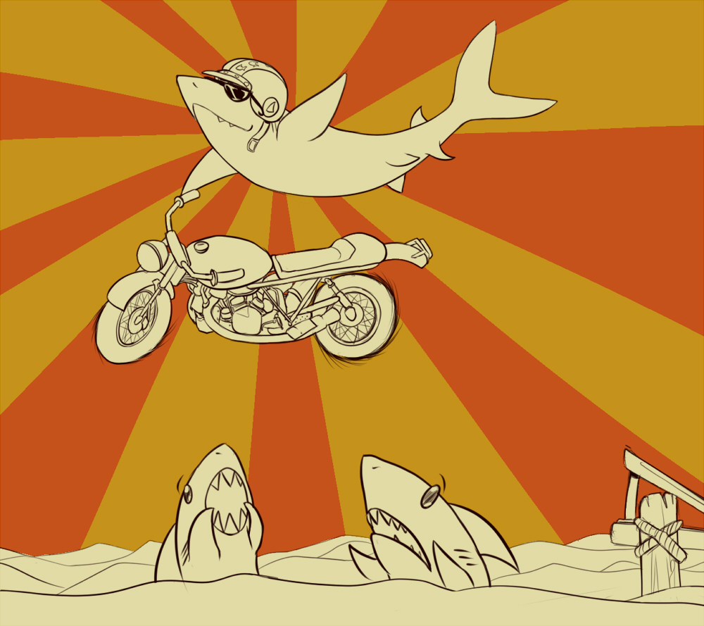 Shark on motorcycle jumping shark